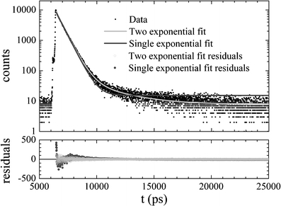 Upper panel: fluorescence decay (dots) of bisDMC in DMSO, single exponential fit (dark-gray solid line) and double exponential fit (light-gray solid line); lower panel: residuals corresponding to the single exponential (dark full dots) and double exponential (light empty circles) fits of above