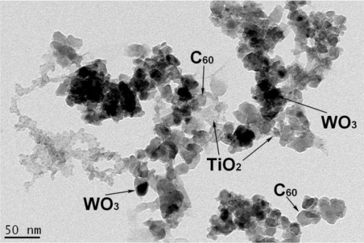 TEM image of the WO3-fullerene/TiO2 composites.