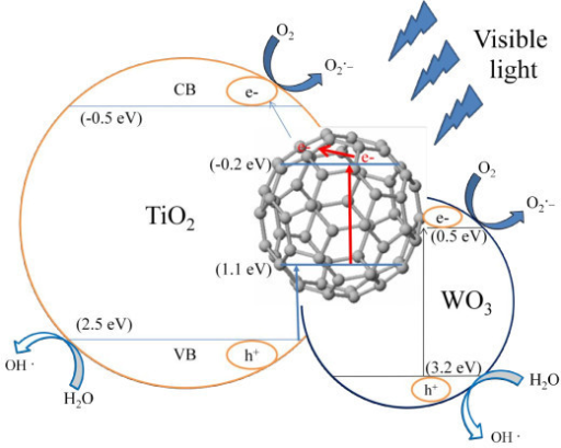 Schematic diagram of the separation of photogenerated electrons and holes on the WO3-fullerene/TiO2 interface.