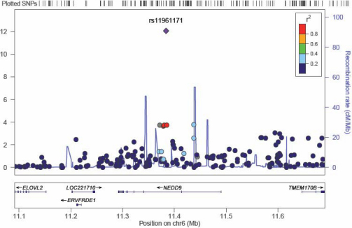 A plot of the most significant region in the discovery sample GWAS. This plot shows the region around the most significant result in the discovery sample GWAS. SNPs are plotted as the -log10 of the p-value. The plot was produced using LocusZoom.