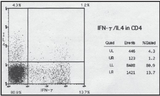 Flow cytometric detection of interferon (IFN)-γ and interleukin (IL)-4 in CD4-positive T cells.Upper left INF-γ negative and IL-4 positive cells (Th2), lower right IFN-γ positive and IL-4 negative cells (Th1), upper right IFN-γ positive and IL-4 positive cells (Th0).