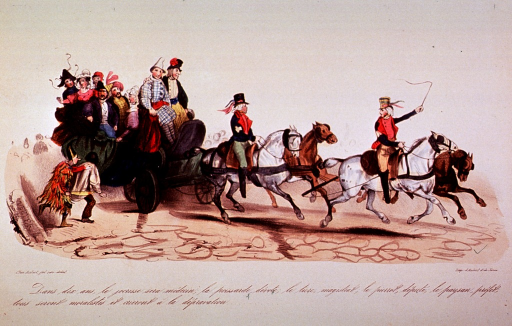 <p>A wagon drawn by four horses is transporting a group of men and women (local officials) wearing carnival costumes.</p>
