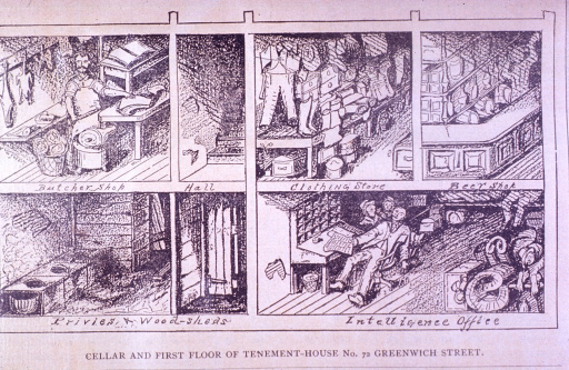 <p>Side view of the tenement house: a butcher shop is directly above the basement privies; a clothing store and beer shop are above the intelligence office for emigrants.  This picture illustrates an article: Pest holes in New York.</p>