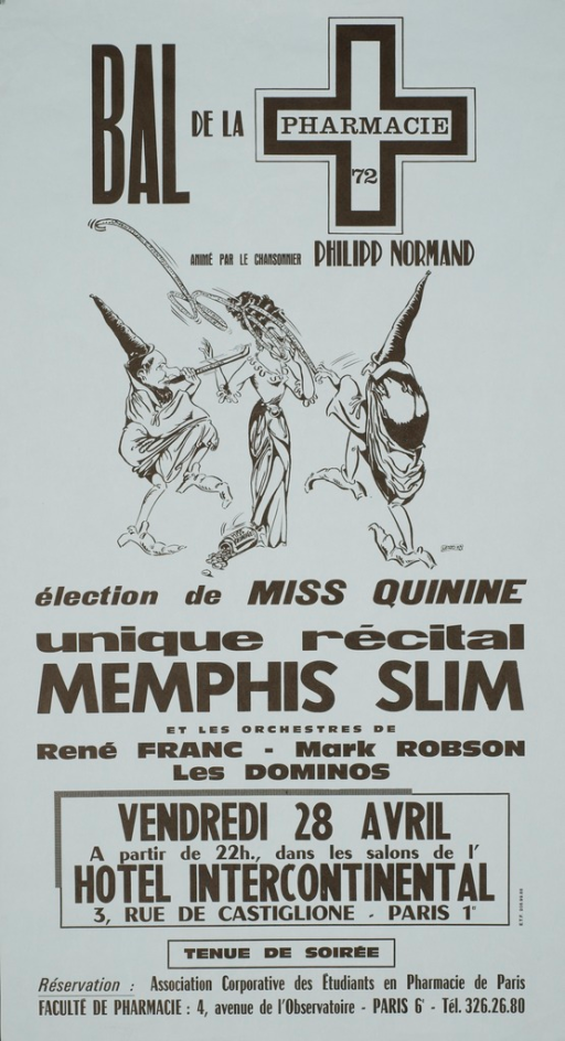 <p>Light blue poster with black lettering announcing a dance for pharmacy students.  Also lists date, time, activities, and performers.  Title at top of poster.  Dominant visual image is an illustration of two troll-like figures and a woman in a ball gown.  One troll plays a flute and they both dance.  The woman has a bottle of quinine pills at her feet.  Publisher information at bottom of poster.</p>