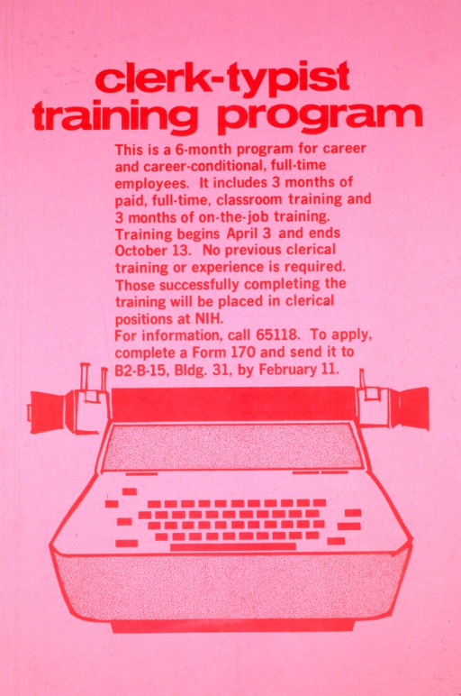 <p>Pink poster with red lettering, the only illustration being a typewriter.  The telephone number, the application form number, and submission location and deadline are supplied.</p>
