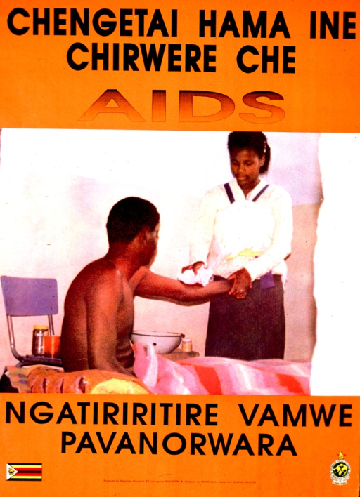 <p>Predominantly orange poster with black lettering.  Title at top of poster.  Visual image is a color photo reproduction featuring a woman washing a man's arm.  The man appears to be sitting up in bed.  Caption below photo.  Publisher information at bottom of poster.</p>