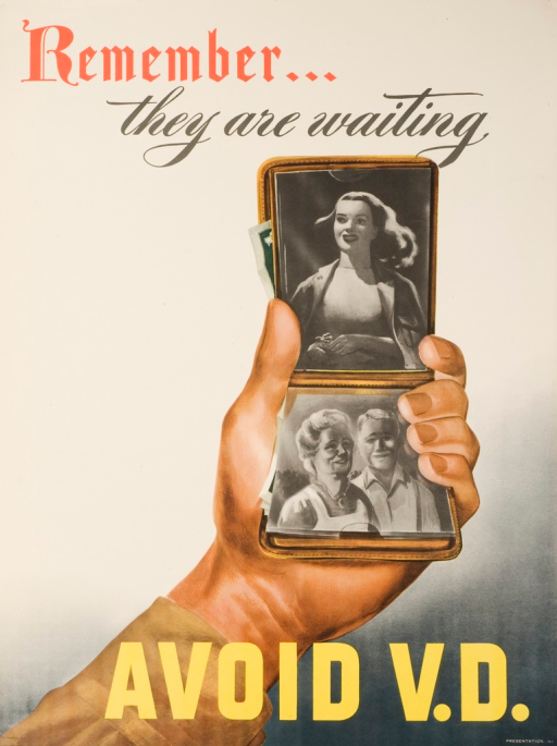 <p>Predominantly white poster with red, black and yellow lettering. A hand held out holds an open wallet showing 2 photographs; one image of a young woman, and the other of two older people, a woman and a man. Title above image. Remainder of title below image.</p>
