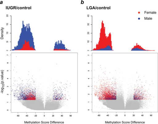 Sexual dimorphism in IUGR males and LGA females for differentially methylated lociThe lower panels show volcano plots of DNA methylation score differences, the upper panels quantify the densities of differentially methylated loci (p value<0.05 using ANOVA with pairwise two-tailed Tukey-tests, methylation difference >/20/). (a) IUGR compared with controls, (b) LGA compared with controls.