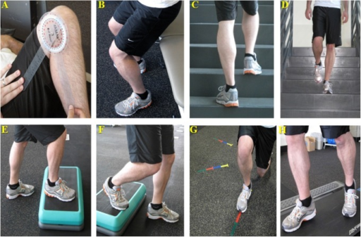 Performance-based knee function assessments. (A) Active/passive range of motion; (B) sit-to-stand; (C) stair ascent; (D) stair descent; (E) step-up; (F) step-down; (G) star lunges; (H) 6-minute treadmill travel.