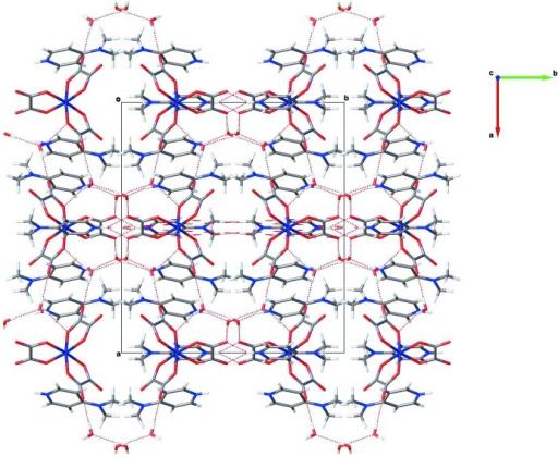 Projection on the ab plane of the crystal structure of the title compound. Hydrogen bonds are shown as dashed lines.
