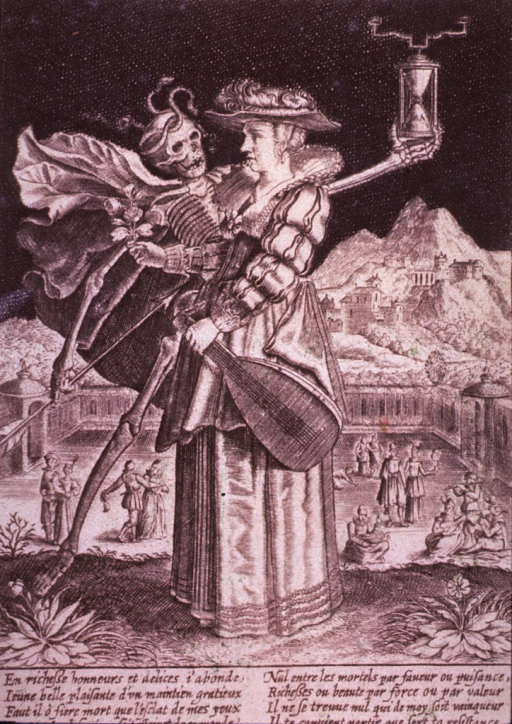 <p>The Figure of Death, carrying an arrow and an hour-glass, confronts a young woman.</p>