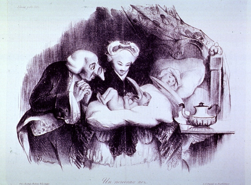 <p>A midwife holds a newborn infant with an extremely large nose; the father, also with a large nose, looks over her shoulder; the mother is in bed in the background.</p>