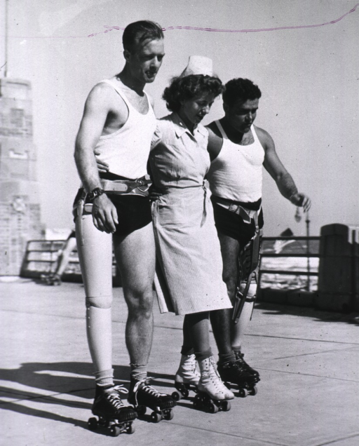 <p>Patients learning to use artificial limbs by use of roller skates.</p>
