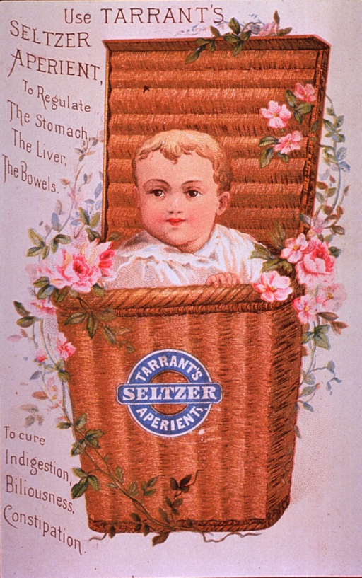 <p>&quot;A mild, pleasant and efficacious remedy&quot; for disorders of the &quot;stomach, liver or bowels.&quot;  Visual motif:  Showing a child in a wicker basket bordered with climbing roses.</p>