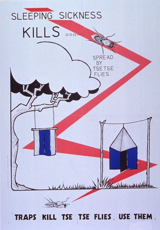 <p>White poster with black lettering.  Title at top of page.  Visual image is an illustration of a tse tse fly and two traps.  The fly is alive at the top of the poster and sitting atop a large red &quot;Z&quot;.  The Z passes through the traps--one suspended from a tree branch, the other hanging off a line between two poles--and leads to the bottom of the poster, where the fly lies dead.  Caption below illustration.</p>