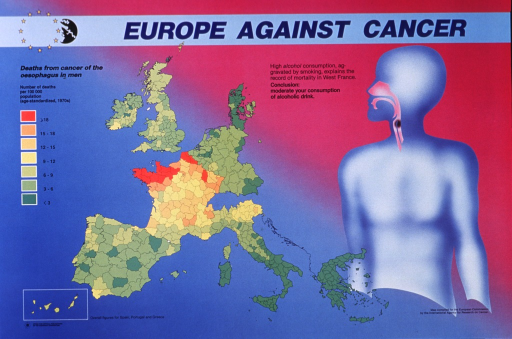 <p>Multicolor poster with blue and black lettering.  Title at top of poster.  Visual images are a map of European Community  member countries showing death rates from cancer of the esophagus in men and an abstract human figure with an esophageal cancer.  Death rates are highest in the north and west of France.  Additional text attributes these high rates to a combination of smoking and drinking.  Publisher information in lower left corner.</p>