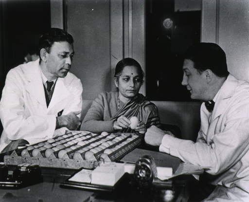 <p>Half-length, examining eggs with two unidentified persons.</p>
