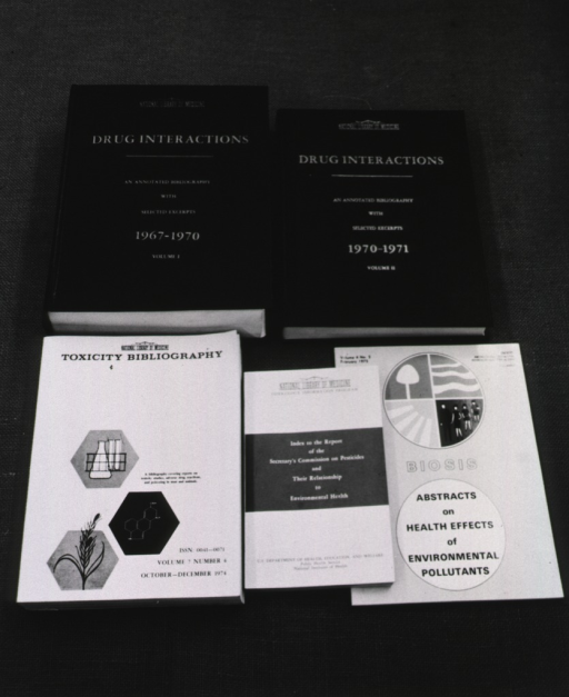 <p>Publications on display: Drug interactions, Toxicity bibliography, Index to the report of the secretary's commission on pesticides and their relationship to environmental health, and BIOSIS.</p>