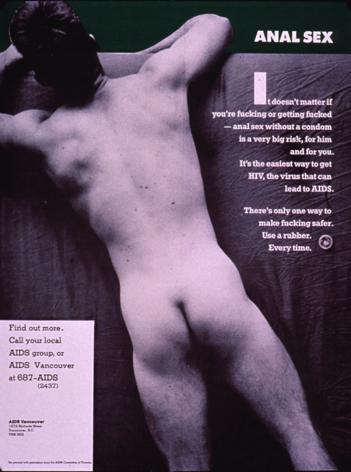 <p>Poster with green border at the top with the photo reproduction of a naked man lying face down on a bed. The text of the poster emphasizes the importance of using a condom in order to prevent HIV/AIDS, regardless of the sexual activity involved. A phone number and address are provided for further information.</p>