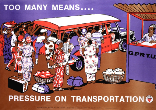 <p>Predominantly purple and brown poster with white and black lettering.  Initial title phrase at top of poster.  Visual image is an illustration of an overcrowded bus and a throng of people who want to board.  Remaining title phrase below illustration.  Publisher information and Family Planning logo at bottom of poster.</p>