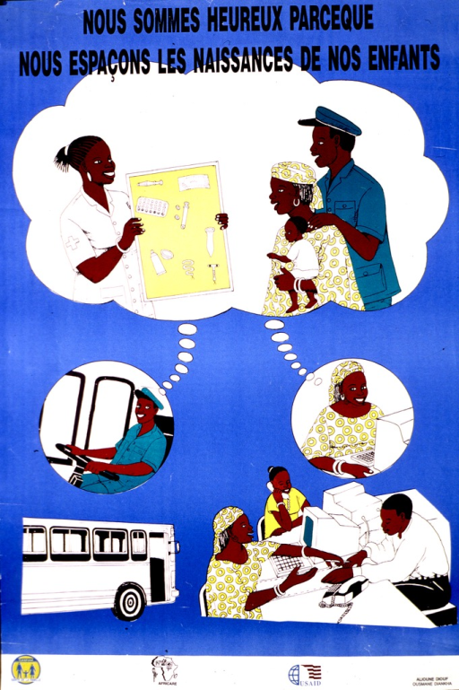 <p>Light blue poster with black lettering.  Title at top of poster.  Visual image consists of illustrations depicting a husband and wife at their workplaces and a shared thought bubble that shows them consulting a health worker regarding contraceptive methods.  Publisher and sponsor information at bottom of poster.</p>