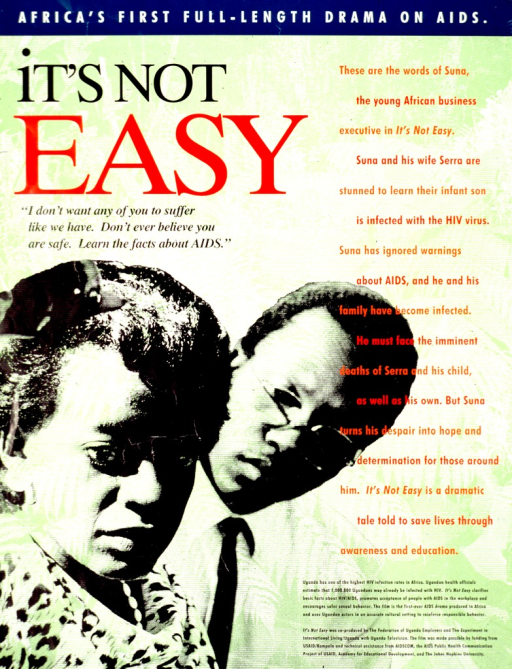 <p>Predominantly green poster with multicolor lettering.  Note at top of poster.  Title below note on left side.  Visual image is a b&amp;w photo reproduction showing a male-female couple.  The woman is in the foreground; the man holds his head at an angle in the background.  Text on right side of poster describes the movie.  Publisher and sponsor information in lower right corner.</p>