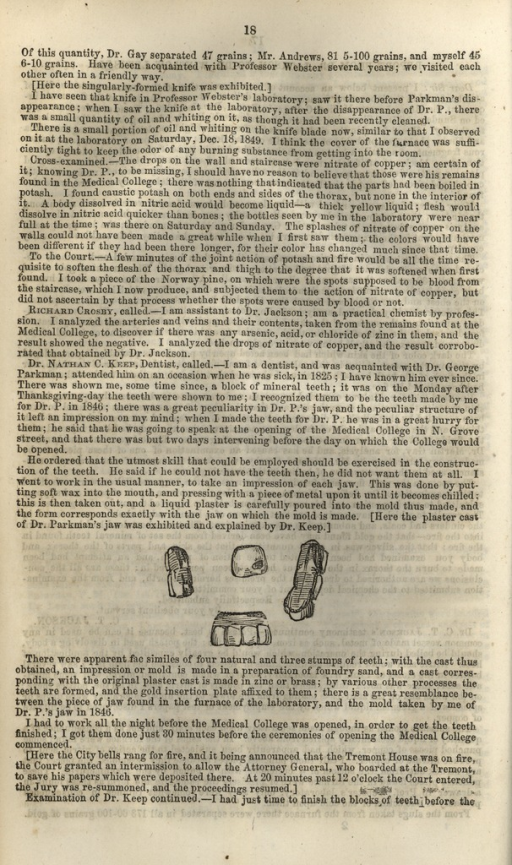 <p>Image from page 18 of a pamphlet: trial transcript (mostly text) including four small engravings of dental bridges from Dr. Parkman's mouth.</p>