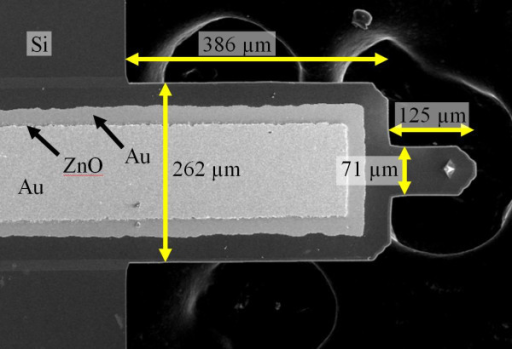 Veeco active probe. Cantilever consists of a Si substrate (thickness = 4 μm) supporting a ZnO stack (0.25 μm Ti/Au, 3.5 μm ZnO, and 0.25 μm Ti/Au). Other relevant dimensions are shown in microns.