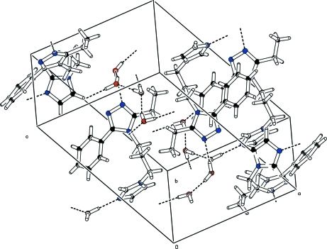 Crystal packing of the title compound viewed along the a axiS. Intermolecular O—H···O and O—H···N hydrogen bonds are shown as dashed lines.