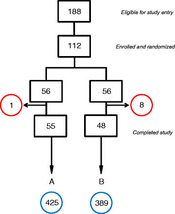 Schematic for patients randomized either to embryo assessment by standard morphology plus aCGH (A) or morphology alone (B). Withdrawals, deferrals and drop-outs for each group are circled in red. The total number of blastocysts associated with each group is circled in blue.