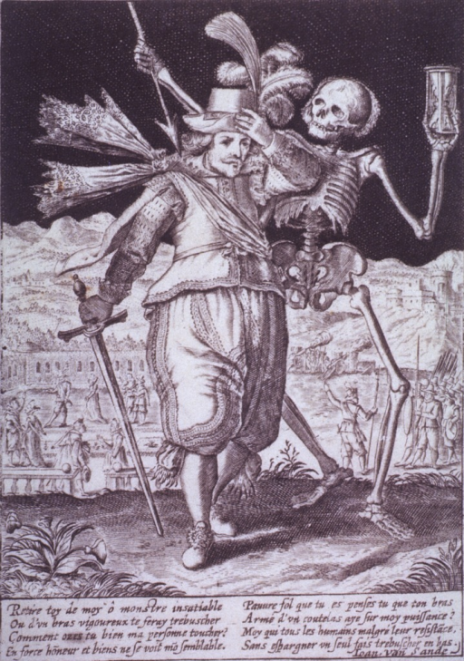 <p>The Figure of Death, carrying an arrow and an hour-glass, confronts a young man holding a sword; a battle scene is taking place in the background.</p>