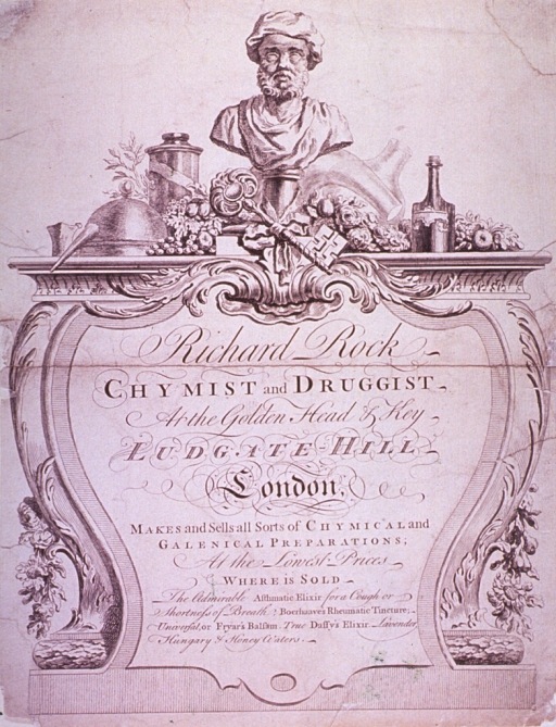 <p>Advertisement within an engraved ornamental border.</p>