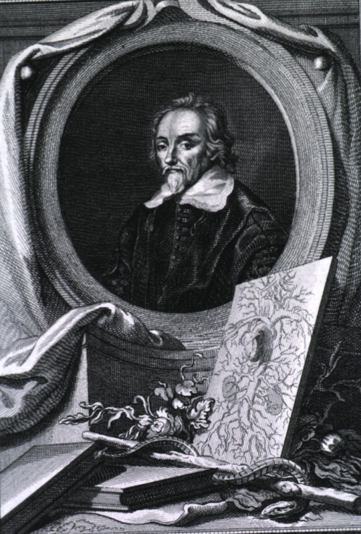 <p>Head and shoulders, left pose, full face; in oval with arterial chart, books and caduceus in foreground.</p>