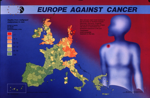 <p>Multicolor poster with blue and black lettering.  Title at top of poster.  Visual images are a map of European Community member countries showing death rates from malignant melanoma in men and an abstract human figure with a mark representing cancer on the shoulder.  Death rates are highest in Denmark, Germany, and the UK.  Additional text attributes these deaths to sun exposure among fair-skinned people.  Publisher information in lower left corner.</p>
