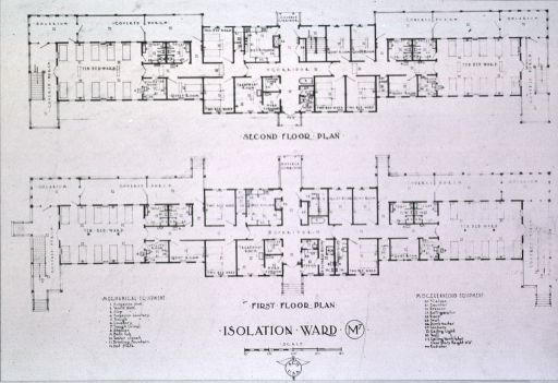 <p>Plan for first and second floors of isolation ward M7.</p>