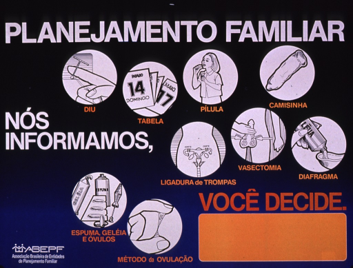 <p>Predominantly blue poster with white and orange lettering.  Title at top of poster.  Visual images are illustrations different family planning methods including IUD, calendar, pills, condom, tubal ligation, vasectomy, diaphragm, foams and creams, and monitoring cervical mucus.  One phrase of note text on left side of poster, one phrase near lower right corner.  Publisher information in lower left corner.</p>