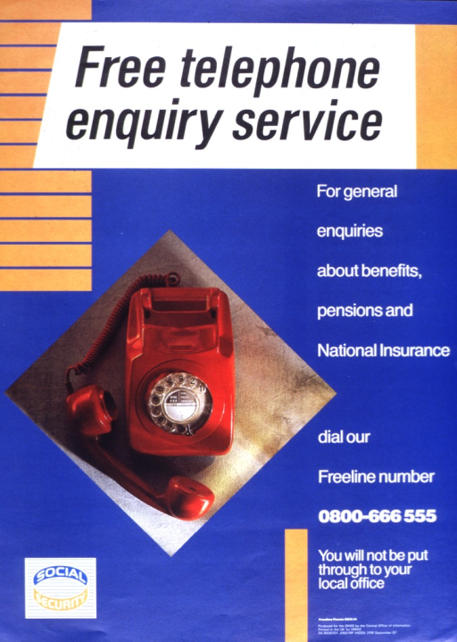<p>Red rotary dial telephone with its receiver resting on the table.   The Social Security logo is on the lower left corner.</p>