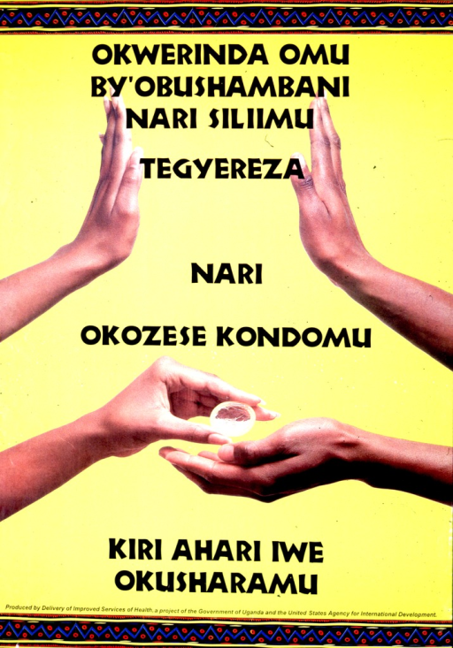 <p>Predominantly yellow poster with black lettering.  Text dispersed throughout poster.  Title may address the concepts of waiting and condoms.  Visual image consists of color photo reproductions showing a woman's hand and a man's hand.  Top photo features the hands raised with palms facing each other, as if both parties are making a &quot;stop&quot; gesture.  Lower photo shows the woman handing the man a condom.  Publisher information at bottom of poster.</p>