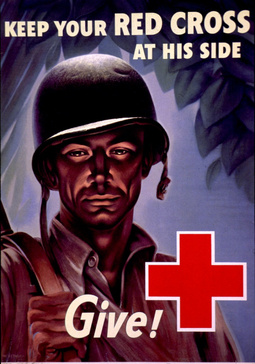 <p>Poster showing a head- to-chest view of an American soldier with a helmet on his head. He is holding the strap of the rifle hung over his shoulder. The Red Cross logo is at the bottom of the poster.</p>