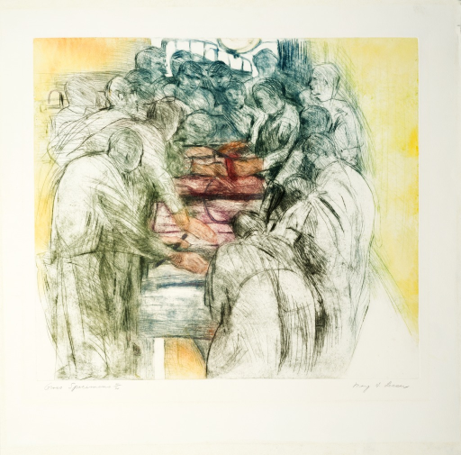 <p>Pathology residents and students in groups in order to study and describe the gross tissues and organs; part of performing an autopsy.</p>