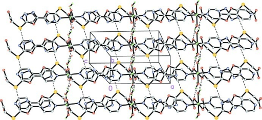 View of the two-dimensional network structure in (1) formed by interchain S···N interactions and multiple O—H···O hydrogen-bonding interactions