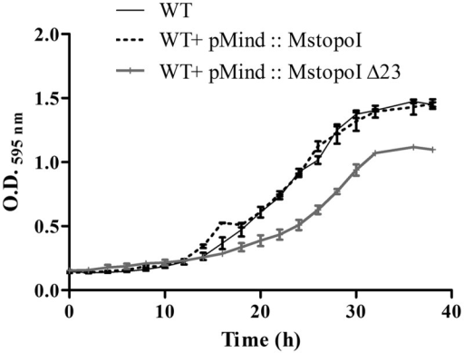 Overexpression of the deletant enzyme results in growth defect. Exponential phase cultures of M. smegmatis mc2 155 and overexpression strains were diluted to O.D.595 nm = 0.05 in Middlebrook7H9 broth and incubated at 37°C with continuous shaking. The cultures were grown for 40 h, and the O.D.595nm was measured at every 2 h interval. The figure shows the mean O.D.595nmvalues obtained in three independent experiments. Bar represents the SD.
