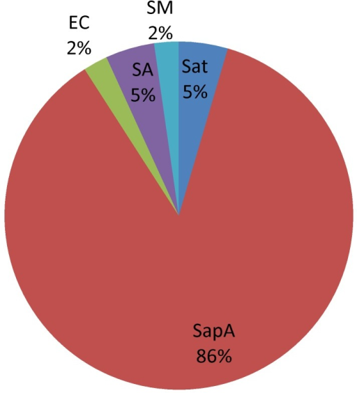 Etiological distribution of fever and rash syndrome in Guangxi, China, 2009–2011.Of 44 etiologies cultured from specimens of fever and rash syndromes: Salmonella paratyphi A (SapA,38 strains), Salmonella-typhi (Sat,2), Escherichia coli(EC,1), Staphylococcus aureus (SA,2), Stenotrophomonas maltophilia(SM,1).