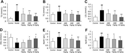 ABE treatment improves hyperlipidemia in rats with steroid-induced ONFH. Steroid hormone administration (the model group) induced marked hyperlipidemia, as indicated by significantly elevated TC (A), TG (B), LDL (C), ApoA1 (E), and ApoB (F) levels, but significantly decreased HDL levels (D). Doses of 10–22.5 g/kg ABE significantly reduced hyperlipidemia by decreasing TC (A), TG (B), LDL (C), ApoA1 (E), and ApoB (F) levels, and increasing HDL levels (D). Data are presented as the mean ± S.D. (n =20 for control, n =25 for model, n =20 for ABE 10 g/kg, ABE 15 g/kg, and 22.5 g/kg groups). # and ##: P <0.05 and P <0.01, respectively, in comparison with the control group. * and **: P <0.05 and P <0.01, respectively, in comparison with the model group.