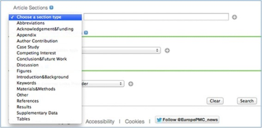 The interface for section searching in the Europe PMC Advanced Search page (http://europepmc.org/advancesearch).