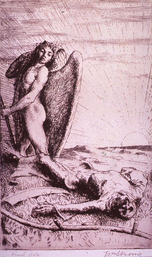 <p>An angel, having just denied Death its opportunity, is standing over the fallen and defeated Figure of Death.</p>