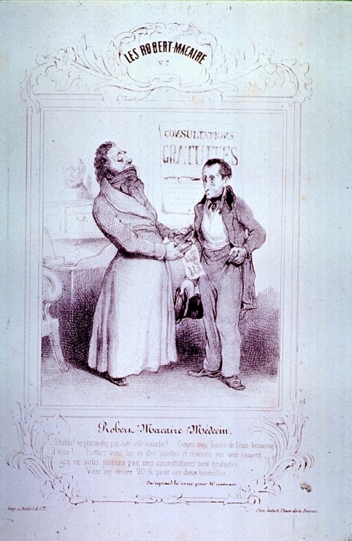 <p>Interior view of physician's office:  A physician offers two bottles of medicine to a patient, the price of which startles the patient; a sign on the wall indicates that consultations are free.</p>
