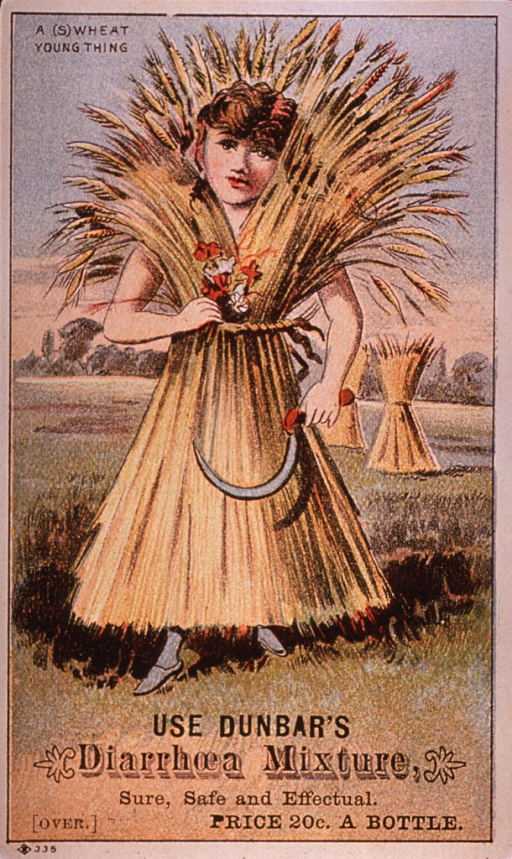 <p>Visual motif:  Showing a young woman bound in a sheaf of wheat; holding flowers in one hand and a sickle in the other.  Caption:  A (s)wheat young thing.</p>