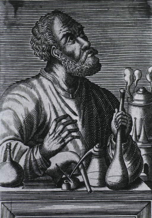 <p>Half-length, right pose; in laboratory with chemistry utensils.</p>