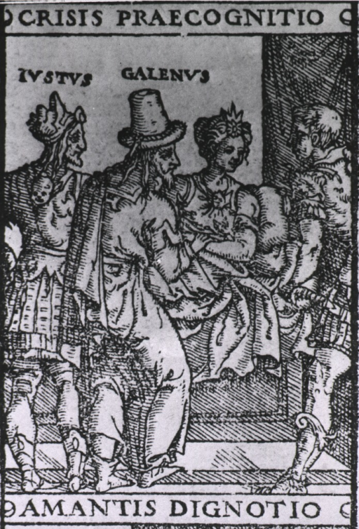 <p>A physician is taking the pulse of a woman sitting up in bed; she appears to be looking and smiling at a young man standing to the right; another man is standing to the left of the physician.</p>